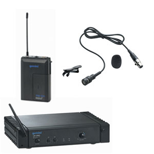 A wireless microphone uses radio signals to transmit sound so it does not need to be plugged into the camera. Eliminating the audio cable between the speaker and the camera is very handy in many situations.