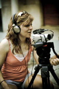 woman using video camera