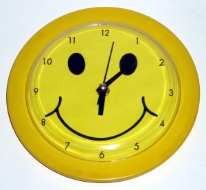 clock with smily face