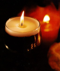 burning candles light level example lux