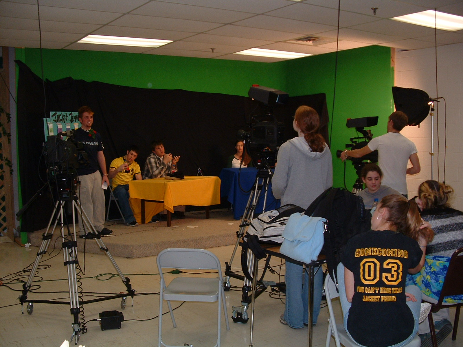 high school video production classroom wide shot