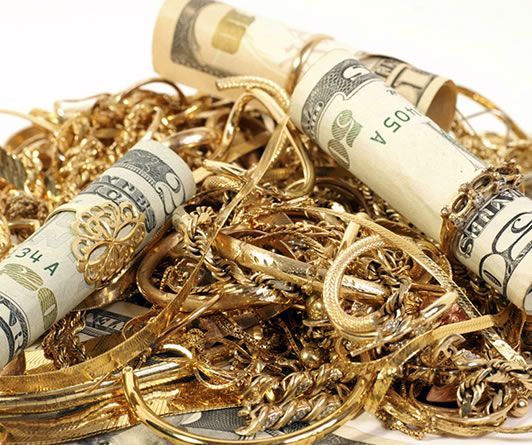 gold jewelry with money