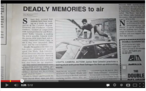 newspaper article on indie film, deadly memories