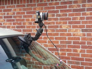 video camera mounted to a car windshield