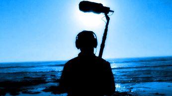 sound man holding mic