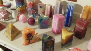 homemade candles wide shot