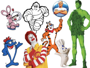 eight different characters used in tv commercials